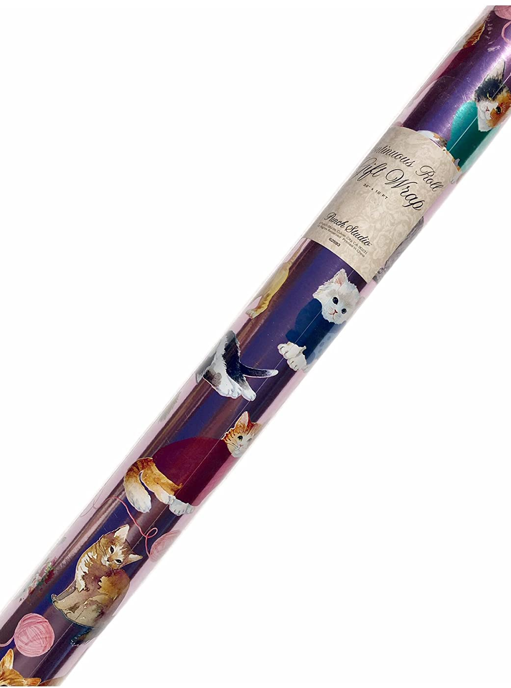 Punch Studio Continuous Metallic Pink Gift Wrap Roll, Haute Couture Cats 62593
