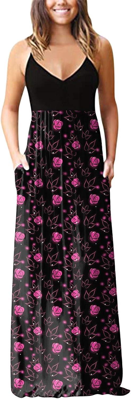 Tavorpt Summer Dresses for Women Maxi Sleeveless Sexy Loose Bohemi Casual Sundress Beach Party Split Cami Long Dress