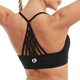 Women's Yoga Bra Top Strappy Back Push Up Crop Sports Bra Activewear