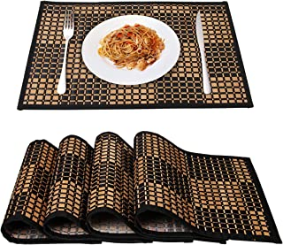 MARSCOOL Bamboo Placemats for Kitchen Table, Placemats Set of 4,Stain-Resistant,Heat-Resistant Place Mats,Table Place Mats Dining Place Mats for Dining Table(Black Square)