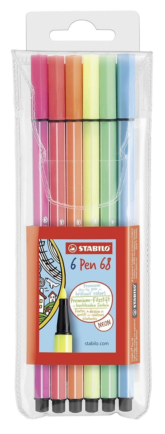 Stabilo Pen 68 Coloring Felt-tip Marker Pen, 1 mm - 6-Color Neon Wallet Set yosknpfeknjw