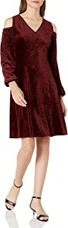 Nine West Women's Velvet Arrow Burnout Cold Shoulder Dress, bordeaux, 2
