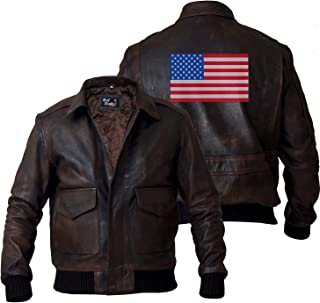 Men's Aviator A-2 Air Force Flight Navy Distressed Real Leather Bomber Jacket