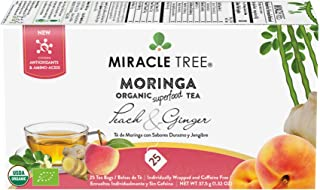 Miracle Tree - Organic Moringa Superfood Tea, 25 Individually Sealed Tea Bags, Peach & Ginger