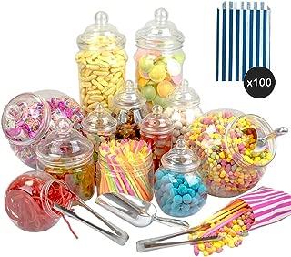 Sweet Jar - 12 Jar Kit (2x3.2L 2x2.5L 2x1L Tall 2x1L Short Round 2x500ml 2x650ml 2xScoop 2xTong 100 Dark Blue Stripe Bags)