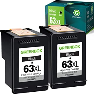 GREENBOX Remanufactured Ink Cartridge 63 Black Replacement for HP 63 63XL for HP OfficeJet 3830 5255 5258 Envy 4520 4512 4...