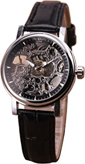 Mastop Women Leather Strap Black Antique Vintage Automatic Mechanical Watch Hollow-Out Skeleton Lady Gift