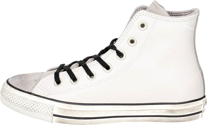 CONVERSE Chuck Taylor All Star Distressed Hi sneakers alte camoscio lacci PELLE PALE PUTTY GRIGIO 158965C inverno 2018
