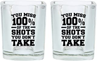 Funny Shot Glasses for College You Miss 100% of the Shots You Don't Take Drinking Games Shot Glass Gift Shot Glasses 2-Pack Square Shot Glass Set Black