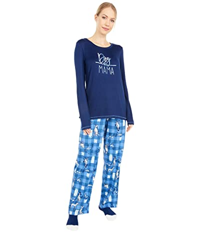 HUE Dog Mama Knit PJ Set with Socks (Medieval) Women