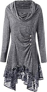 Pullover Lungo Donna Inverno Collo Alto Vintage Vestito Gotico Taglie Forti Blusa Asimmetrica Felpa Irregolare Mini Abito ...