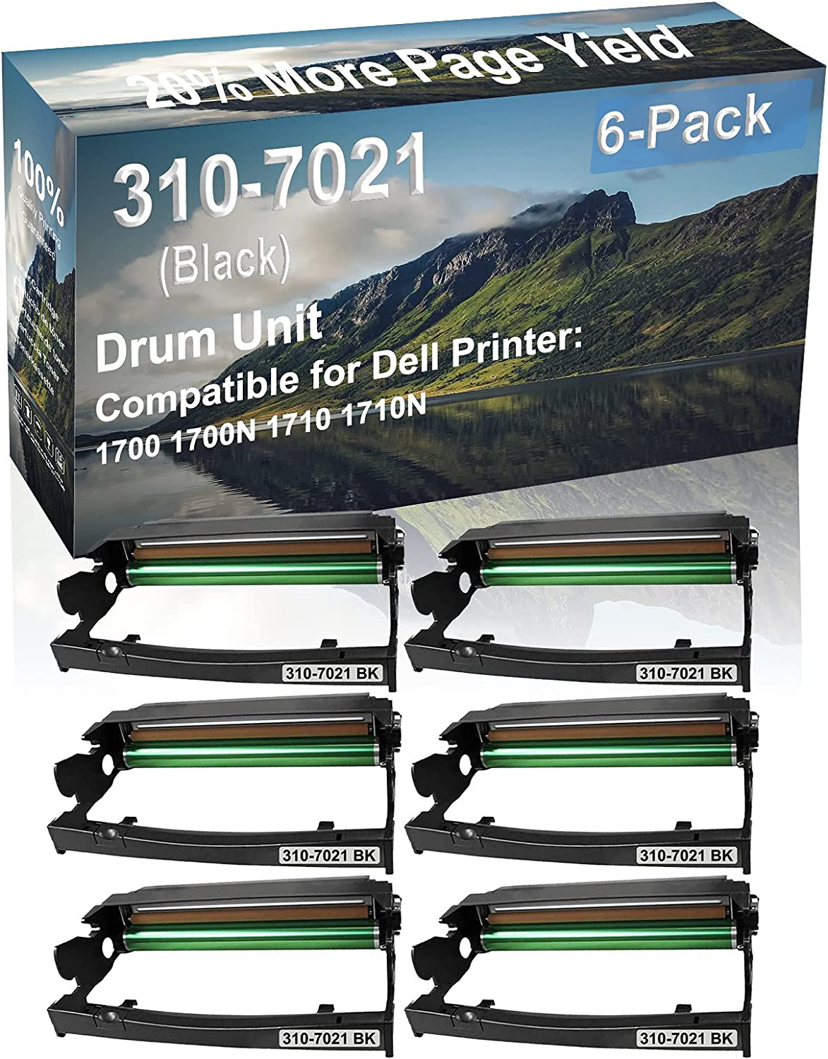 6-Pack Compatible Drum Unit (Black) Replacement for Dell 310-7021 Drum Kit use for Dell 1700 1700N 1710 1710N Printer