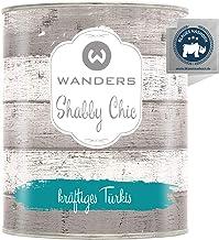 Wanders24 Kreidefarbe 750 ml, kräftiges Türkis Holzfarbe für Shabby Chic Look - Möbelfarbe einfach zu verarbeiten - Möbellack auf Wasserbasis - Made in Germany