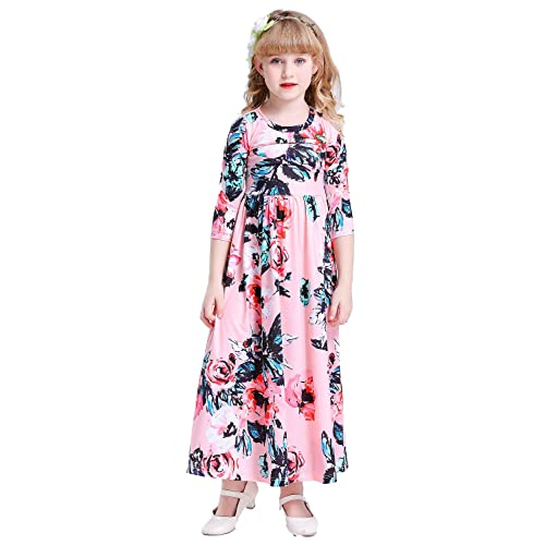 d3aa691ccc8 Happy Rose Girls Floral Maxi Three-Quarter Sleeves Holiday Long Dress Size  Girls  Fit