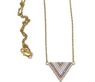 Collana Giapponese perle bianco lilla beige viola triangolo tessitura chevron catena acciaio inox regali personalizzati re...