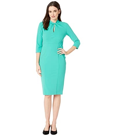 Donna Morgan Twist Neck Crepe Sheath Dress (Seagreen) Women