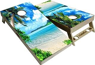 BackYardGamesUSA Tropical Series - Premium Cornhole Boards w Cupholders and a Handle - Includes 2 Regulation 4' x 2' Cornhole Boards w Premium Birch Plywood and 8 Cornhole Bags