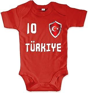 net-shirts Organic Baby Body mit Türkei Turkey Türkiye 02 Aufdruck Fußball Fan WM EM Strampler - Spielernummer wählbar, Größe 00-03 Monate-Spielernummer 01
