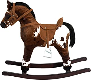 Cuet Chic Charming Kids Toy Rocking Horse Wood Plush Pony Traditional Gift with Neigh Sound Toddlers Children Bday Boy Girl