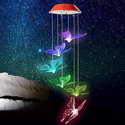 Solar Wind Chimes Outdoor, Colors Changing Sola...
