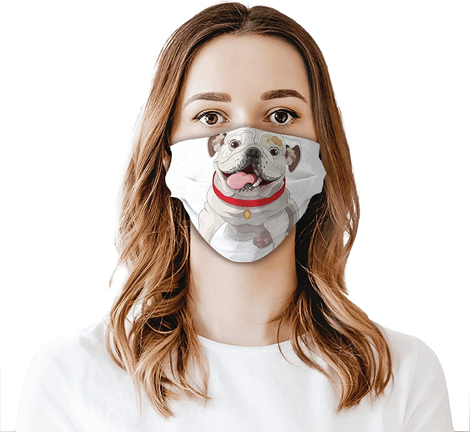 Happy Puppy with a Red Collar Domestic Pure Breed Animal Illustration,Face Mask with Filter Pocket Washable Reusable Face Bandanas Balaclava with 2 Pcs Filters