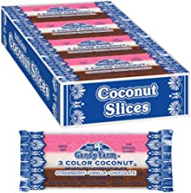 Neapolitan Coconut Slice Candy Bars (Vanilla, Chocolate & Strawberry-striped moist coconut 1.65 Ounce Bars), 24 Count