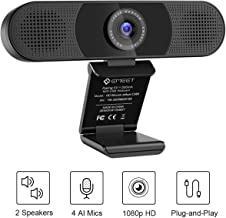 3 in 1 Webcam - eMeet C980 Pro HD Webcam, 2 Speakers and 4 Built-in Omnidirectional Microphones arrays, HD 1080P Webcam for Video Conferencing, Streaming, Noise Reduction, Plug & Play, w/Webcam Cover