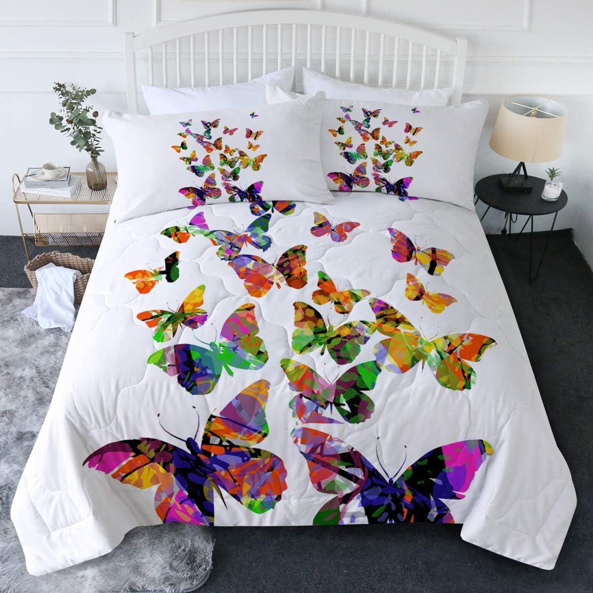 BlessLiving 3 Piece Butterfly Comforter Miami Mall Gir Max 67% OFF Cute Teen Modern Set