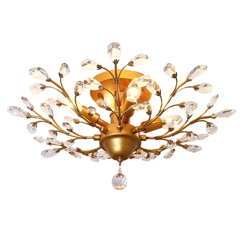 Garwarm 9 Lights Vintage Crystal Chandeliers Ceiling Lights LED