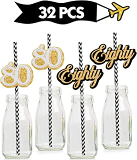 80th Gold Striped Paper Straw Décor- Birthday Anniversary Party decoration – Set of 32