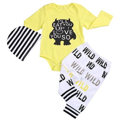 3Pcs Baby Boy Clothes Wild Monster Cartoon Letter Print Bodysuit Summer Cotton Romper Pants+Hat Outfits Set