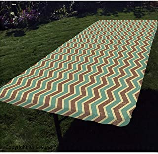 Brown and Blue Polyester Fitted Tablecloth,Chevron Zigzags Herringbone Pattern with Vintage Worn Look Design Decorative Rectangular Elastic Edge Fitted Table Cover,Fits Rectangular Tables 72x32 Seafo
