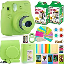 Fujifilm Instax Mini 9 Instant Camera + Fuji Instax Film (40 Sheets) + Batteries + Accessories Bundle - Carrying Case, Color Filters, Photo Album, Stickers, Selfie Lens + More (Lime Green)