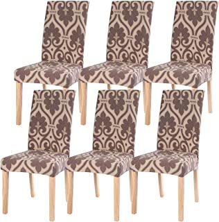 SearchI 6 Pack Fit Stretch Removable Washable Short Dining Chair Covers Slipcover Protector, Spandex Fabric Chair Cover for Dining Room, Hotel, Ceremony (Brown, 6 per Set)