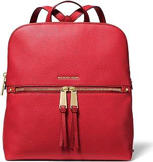 حقيبة ظهر نحيفة من الجلد النباتي المرصوص بسحاب من Michael Kors Rhea - لون أحمر ساطع