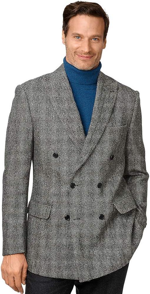 Paul Fredrick Men's Tailored Fit Harris Tweed Double Breasted Sport Coat