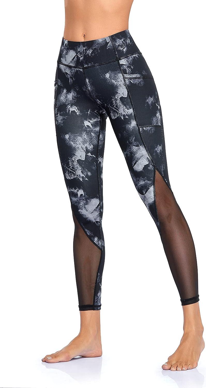 CHAMA Women Tight Yoga Pants Tummy Control Mesh Workout Leggings (1-Black White,Small) : Sports & Outdoors