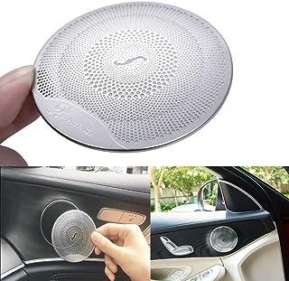 lanyun Door Speaker Audio Player Cover Trim for Mercedes Benz for 2015-up Mercedes W205 C-Class C250 C300 C350 C400 C63, X205 GLC-Class GLC250 GLC300, etc(1set/4pic) (Matt Silver)