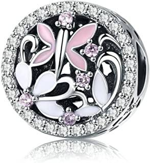 Eternalll Orchid Charms 100% 925 Sterling Silver Pink Enamel Flower Dragonfly Love Heart Bead Charms European Bead fit Pandora Bracelets Beads Crystal Jewelry (Y Charme)