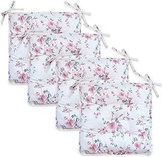 textile4home Juego de Cuatro Cojines Cuadrados para Silla Bella Rosas/Medidas: 40x40 cm / 88% algodón, 12% poliéster/Relleno de Fibra Hueca