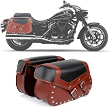 2PC Heavy-duty Waterproof Motorcycle Saddlebags 2-Strap - Extra-Large PU Synthetic Leather Insulated Throw-Over Saddlebag Tool Bag   Side Bag   Handlebar Bag w/Quick Release Buckles