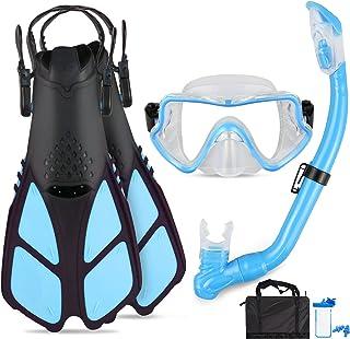 Aisrida Kids Snorkel Set Mask Fin Snorkeling Set, Panoramic Snorkel Mask + Dry Top Snorkel + Adjustable Swim Flippers + Sn...