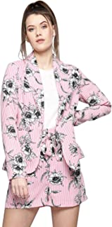 BESIVA Women's Floral Print Blazer and Shorts Set