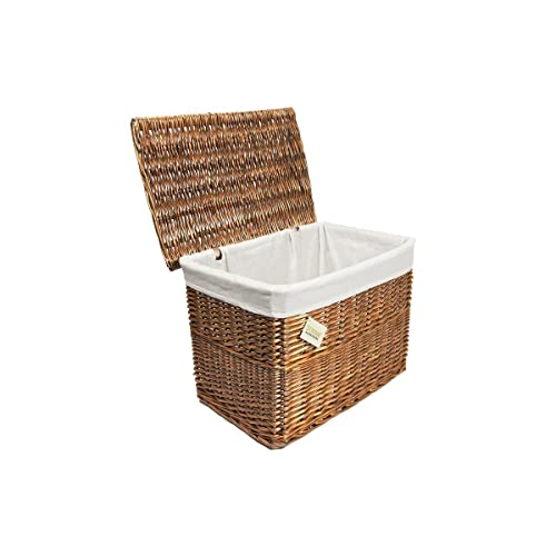 2ee1d6d188 woodluv Large Wicker Basket Storage Chest Trunk Hamper with Cloth Lining