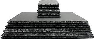 Maison & White Manteles de pizarra natural con posavasos | Rectangular | Tablemats de corte fino | Menaje de cocina contemporáneo de calidad 16pc