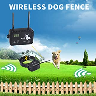 JIEYUAN Wireless Electric Dog Fence Pet Containment System, Safe Effective Vibrate/Shock Fence, Adjustable Control Range Up to 900 Feet & Display Distance, Rechargeable Waterproof Collar