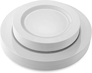 50 Disposable White Heavy Duty Plastic Plates | 25 Dinner Plates and 25 Dessert or Appetizer Plates | Premium Combo Disposable Dinnerware Set | Great for Parties or Weddings. (50 Pack) by Bloomingoods