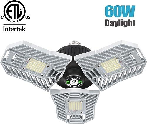 Falive Garage Lighting 60W 6000lm LED Garage Lights Three-Leaf Beyond Bright Garage Ceiling Light Fixture with Deform...