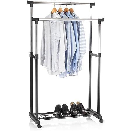 IDIMEX Portant à vêtements Grosso penderie Double sur roulettes vestiaire Mobile avec 2 Barres de Hauteur réglable et Une Tablette de Rangement, en métal chromé et Plastique Noir