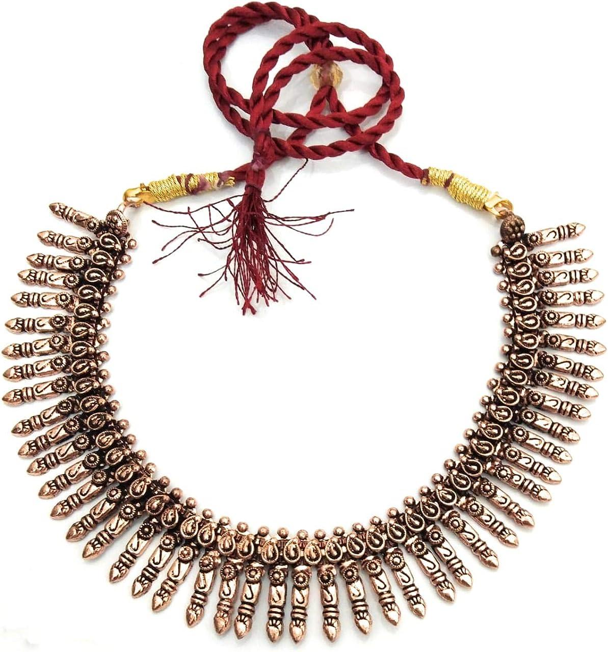 Indian Necklaces Copper oxidised Finish Copper Plated Red Thread Ethnic Collar Indian Necklaces Premium Ethnic Festival Copper Beads Thread India Garba, Navratri, Diwali Women Fashion Jewellery